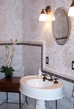 Powder Room with Marble tile and Original Victorian Pedestal Sink