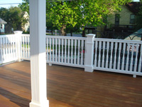 Colonial spindles and Square Fluted Columns on our Rear Deck
